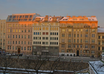 vienna houses in winter morning, snow