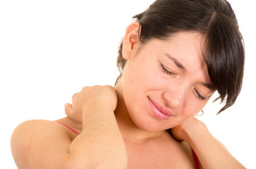 young beautiful woman with neck pain
