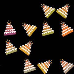 Seamless pattern of sweet birthday cakes