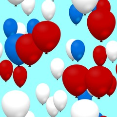 Red blue white air party balloons on bright blue background