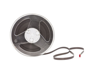 ancient reel audio tape isolated on white