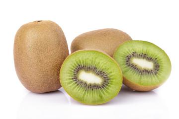 Sliced kiwi fruit isolated on white background