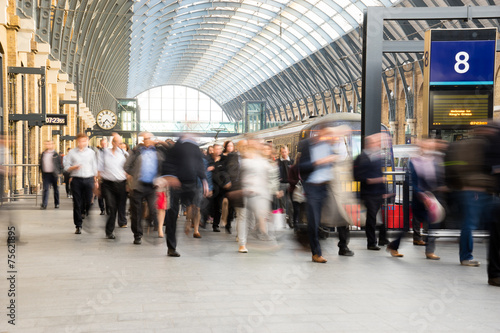 Aluminium Treinstation London Train Tube station Blur people movement, England, UK