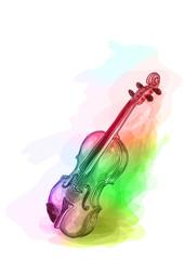 Violin in iridescen colours.