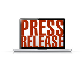 press release laptop message illustration