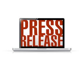 press release laptop message illustration