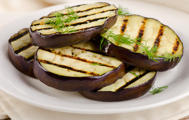 Grilled eggplant slices on  plate
