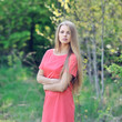 Beautiful young woman on a sunny day outdoor portrait