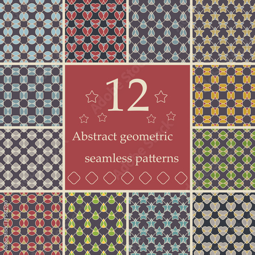 In de dag Kunstmatig Collection of abstract geometric seamless patterns