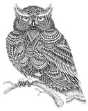 Hand Drawn Abstract Pattern Owl Illustration