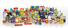 "Постер, картина, фотообои ""Various 3D grocery products isolated on white"""