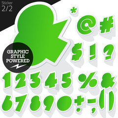 Alphabet set of symbols in the form of stickers. Sticker green
