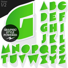 Alphabet set of symbols in the form of stickers. Sticker green.