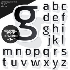 Alphabet set of symbols in the form of stickers. Style