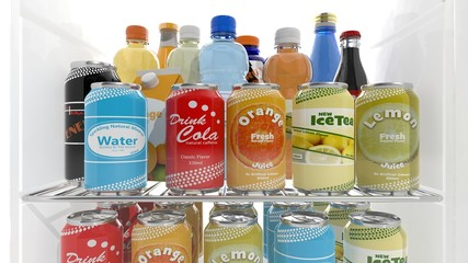 Various 3D beverages products on refrigerator shelve