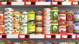 Various 3D can food products on supermarket shelve