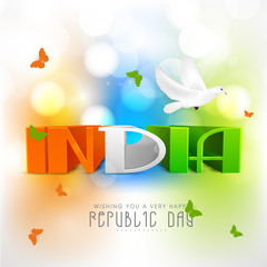 Tricolor text with pigeon for Indian Republic Day celebration.