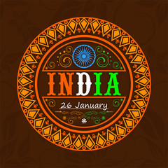 Sticker or label design for Indian Republic Day celebration.