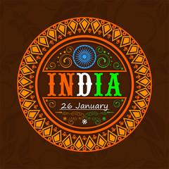 Sticker or label design for Indian Republic Day celebration.