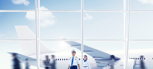 Airport Travel Cabin Crew Trip Transportation Airplane Concept