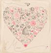 Vintage Hand Drawn Valentine Elements Vector Set