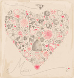 Vintage Hand Drawn Valentine Elements Vector Set