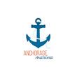 Anchorage marina logo template with anchor