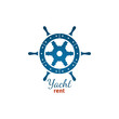 Yacht rent logo template with steering wheel