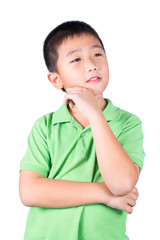 Asian boy thinking isolated on white background