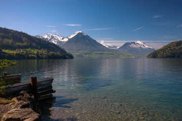 View of Lucerne lake with swiss alps in spring