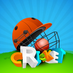 3D text Cricket with batsman helmet and red ball.