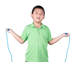 Boy holding a jump rope isolated on white background