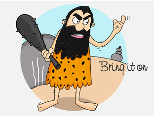 Cartoon of a caveman with club for cricket sports concept.