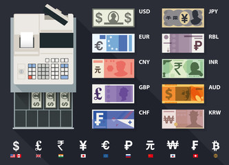 vector currency, money and cash register