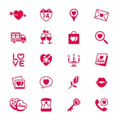 Valentine's day flat icons