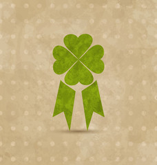 Award ribbon with four-leaf clover for St. Patrick's Day, retro