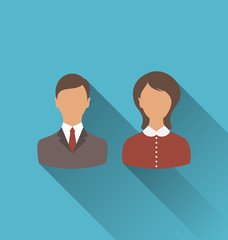 Male and female user avatars. Flat icons with long shadow