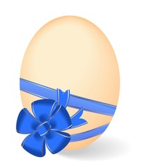 Realistic illustration by Easter egg with blue bow