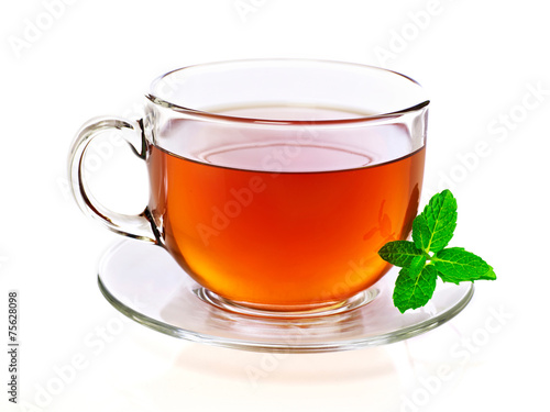 Foto op Plexiglas Koffie Cup of tea with mint