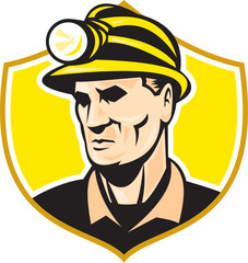 Miner With Hardhat Helmet Shield Retro