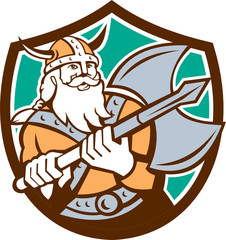 Viking Raider Barbarian Warrior Axe Shield Retro