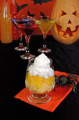 Dessert of pineapple and orange whipped cream