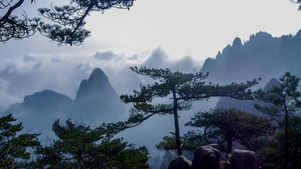Time lapse of Yellow Mountain,Anhui Province,China
