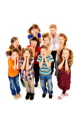 schoolchildren cry