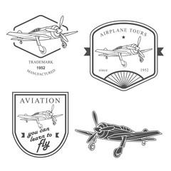 Set of vintage airplane labels, badges and design elements