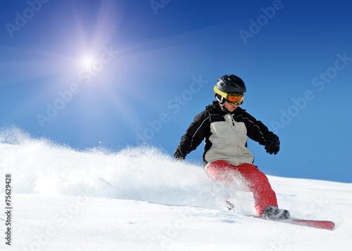 canvas print picture Kind beim Snowboarden