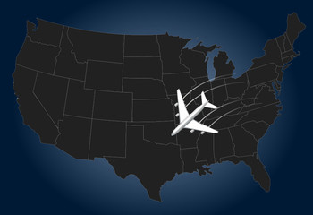 USA Airline, map
