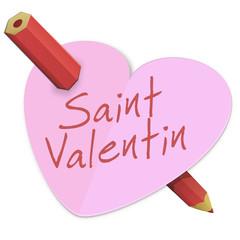 Cœur de la Saint-Valentin percé d'un crayon