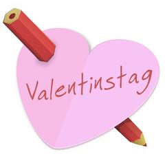 Heart of Valentinstag durchbohrt mit einem Bleistift