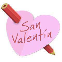 Corazón de San Valentín perforado con un lápiz